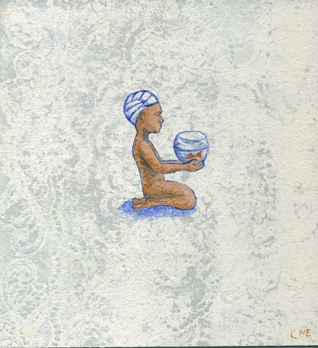 Bandagebarn med fisk