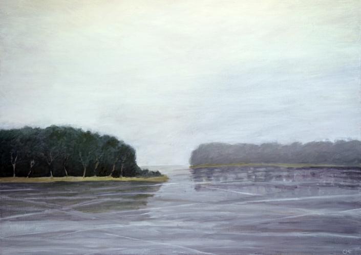 Frusen sjö olja